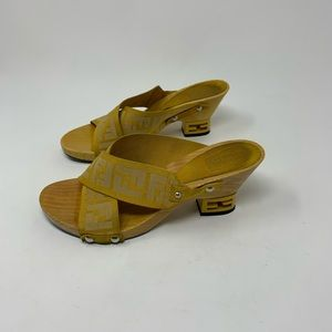 FENDI yellow zucca wooden clog wedges